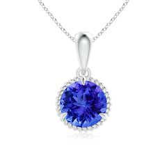 Rope-Framed Claw-Set Tanzanite Solitaire Pendant