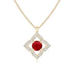 Vintage Inspired Ruby Clover Pendant