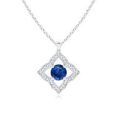 Vintage Inspired Blue Sapphire Clover Pendant