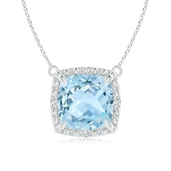 Claw-Set Cushion Aquamarine Beaded Halo Pendant Necklace