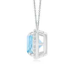 Toggle Claw-Set Cushion Aquamarine Beaded Halo Necklace