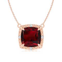 Claw-Set Cushion Garnet Beaded Halo Pendant Necklace