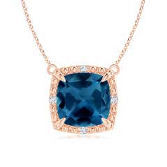 Cushion London Blue Topaz Beaded Halo Pendant Necklace