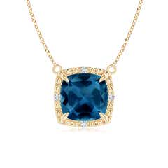 Claw-Set Cushion London Blue Topaz Beaded Halo Necklace