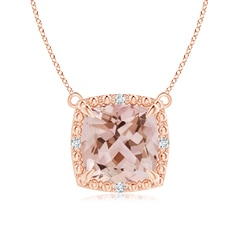Claw-Set Cushion Morganite Beaded Halo Necklace