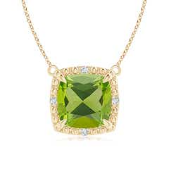 Claw-Set Cushion Peridot Beaded Halo Necklace