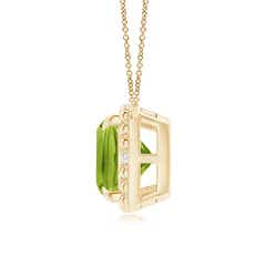Toggle Claw-Set Cushion Peridot Beaded Halo Necklace