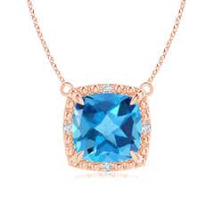Claw-Set Cushion Swiss Blue Topaz Beaded Halo Necklace