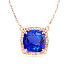 Claw-Set Cushion Tanzanite Beaded Halo Pendant Necklace