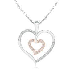 Twin Heart Diamond Pendant in Two Tone Gold