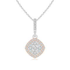 Composite Diamond Angular Halo Dangle Pendant in Two Tone