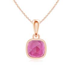Rectangular Cushion Pink Tourmaline Solitaire Pendant