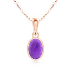 Oval Amethyst Solitaire Dangle Pendant