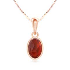 Oval Garnet Solitaire Dangle Pendant