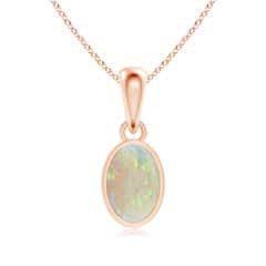Oval Opal Solitaire Dangle Pendant