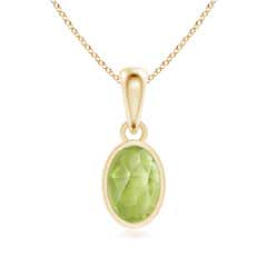 Oval Peridot Solitaire Dangle Pendant