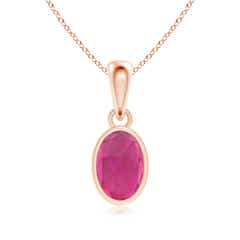 Oval Pink Tourmaline Solitaire Dangle Pendant