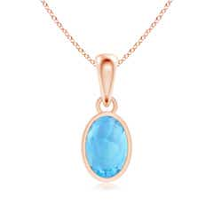 Oval Swiss Blue Topaz Solitaire Dangle Pendant