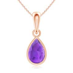 Pear-Shaped Amethyst Solitaire Dangle Pendant