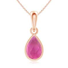 Pear-Shaped Pink Tourmaline Solitaire Dangle Pendant