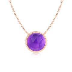 Bezel-Set Round Amethyst Solitaire Necklace