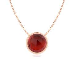 Bezel-Set Round Garnet Solitaire Necklace