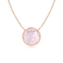 Bezel Set Round Morganite Solitaire Necklace