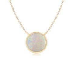 Bezel Set Round Opal Solitaire Necklace