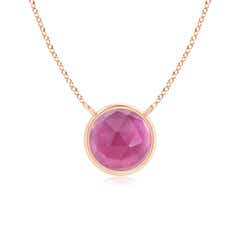 Bezel Set Round Pink Tourmaline Solitaire Necklace