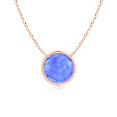 Bezel Set Round Tanzanite Solitaire Necklace