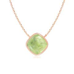 Bezel-Set Cushion Peridot Solitaire Necklace