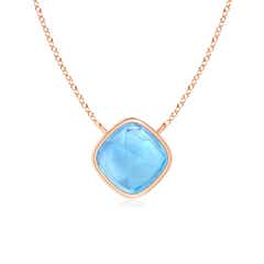Bezel-Set Cushion Swiss Blue Topaz Solitaire Necklace
