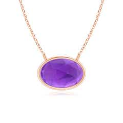 East West Amethyst Solitaire Necklace
