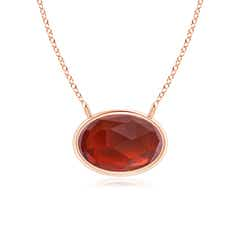 East West Garnet Solitaire Necklace