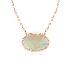 East West Opal Solitaire Necklace