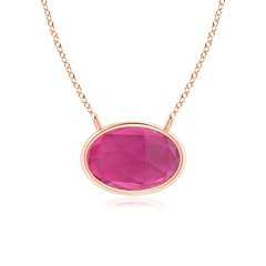 East West Pink Tourmaline Solitaire Necklace