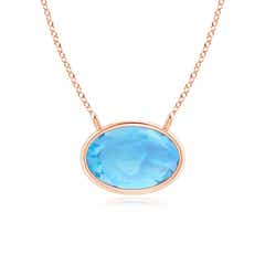 East West Swiss Blue Topaz Solitaire Necklace