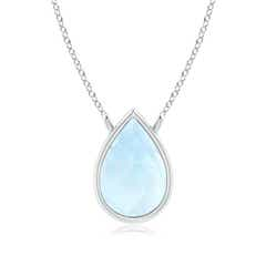 Pear-Shaped Aquamarine Solitaire Necklace