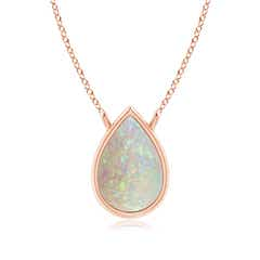 Pear-Shaped Opal Solitaire Necklace