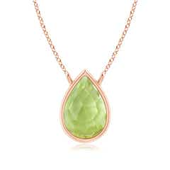 Pear-Shaped Peridot Solitaire Necklace