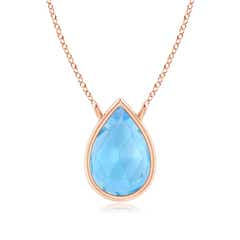 Pear-Shaped Swiss Blue Topaz Solitaire Necklace