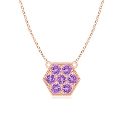 Pave-Set Amethyst Hexagon Necklace with Milgrain