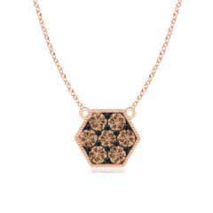 Pave-Set Coffee Diamond Hexagon Necklace with Milgrain