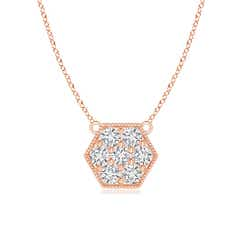 Pave-Set Diamond Hexagon Necklace with Milgrain