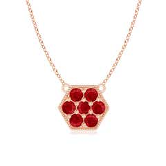 Pave-Set Ruby Hexagon Necklace with Milgrain