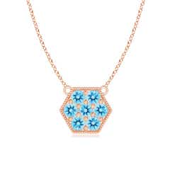 Pave Set Swiss Blue Topaz Hexagon Necklace Pendant with Milgrain