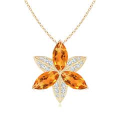 Citrine and Diamond Trillium Flower Pendant
