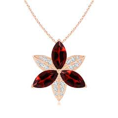 Garnet and Diamond Trillium Flower Pendant