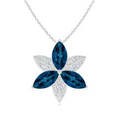 London Blue Topaz and Diamond Trillium Flower Pendant
