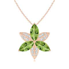 Peridot and Diamond Trillium Flower Pendant